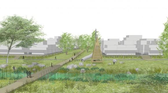 Vue sur l'espace de jeux et les jardins de l'île - Linder Paysage